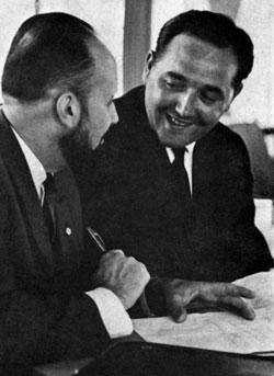 Jacques Bertrand et Roger Blanpain lors de la création de la FIFPro...