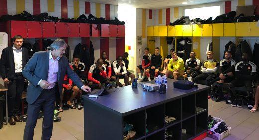 Avec les joueurs de l'US Orléans...